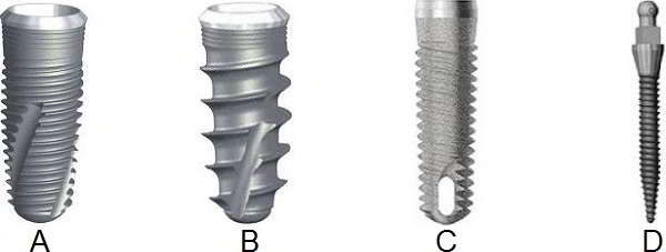 Types of striated dental implants